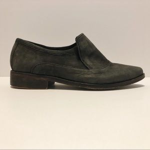 Free People Brady Gray Distressed Leather Loafers